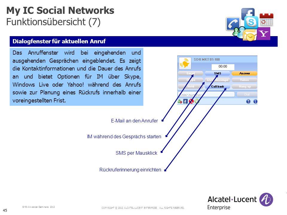 COPYRIGHT © 2012 ALCATEL-LUCENT ENTERPRISE. ALL RIGHTS RESERVED. SMB-Anwender-Seminare 2012 Dialogfenster für aktuellen Anruf Das Anruffenster wird be
