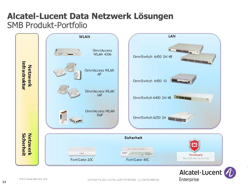 COPYRIGHT © 2012 ALCATEL-LUCENT ENTERPRISE. ALL RIGHTS RESERVED. SMB-Anwender-Seminare 2012 Alcatel-Lucent Data Netzwerk Lösungen SMB Produkt-Portfoli