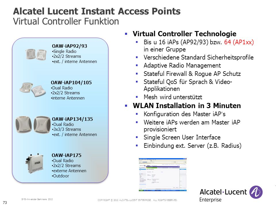 COPYRIGHT © 2012 ALCATEL-LUCENT ENTERPRISE. ALL RIGHTS RESERVED. SMB-Anwender-Seminare 2012 Alcatel Lucent Instant Access Points Virtual Controller Fu