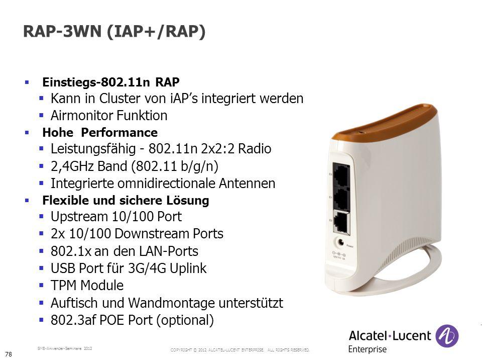 COPYRIGHT © 2012 ALCATEL-LUCENT ENTERPRISE. ALL RIGHTS RESERVED. SMB-Anwender-Seminare 2012 Einstiegs-802.11n RAP Kann in Cluster von iAPs integriert