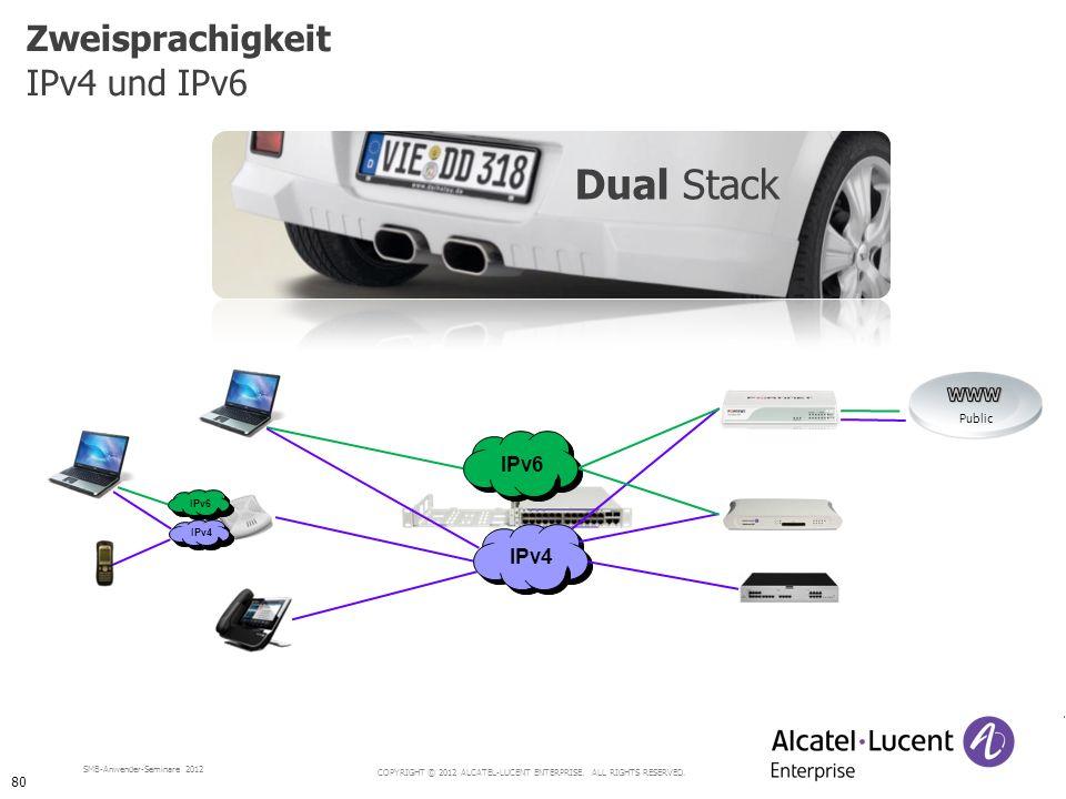 COPYRIGHT © 2012 ALCATEL-LUCENT ENTERPRISE. ALL RIGHTS RESERVED. SMB-Anwender-Seminare 2012 Zweisprachigkeit IPv4 und IPv6 Dual Stack IPv4 IPv6 IPv4 I