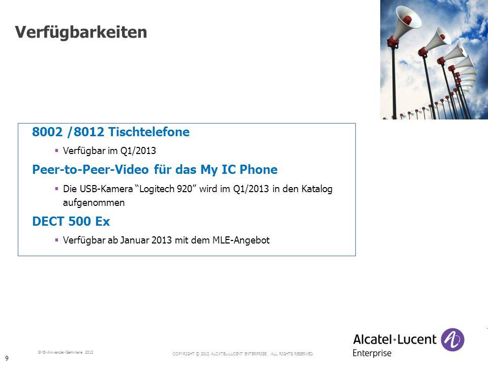 COPYRIGHT © 2012 ALCATEL-LUCENT ENTERPRISE. ALL RIGHTS RESERVED. SMB-Anwender-Seminare 2012 8002 /8012 Tischtelefone Verfügbar im Q1/2013 Peer-to-Peer