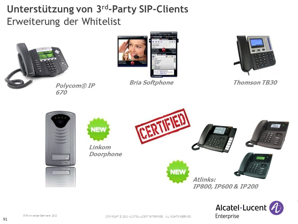 COPYRIGHT © 2012 ALCATEL-LUCENT ENTERPRISE. ALL RIGHTS RESERVED. SMB-Anwender-Seminare 2012 Polycom® IP 670 Unterstützung von 3 rd -Party SIP-Clients