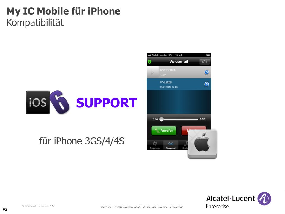 COPYRIGHT © 2012 ALCATEL-LUCENT ENTERPRISE. ALL RIGHTS RESERVED. SMB-Anwender-Seminare 2012 My IC Mobile für iPhone Kompatibilität SUPPORT für iPhone
