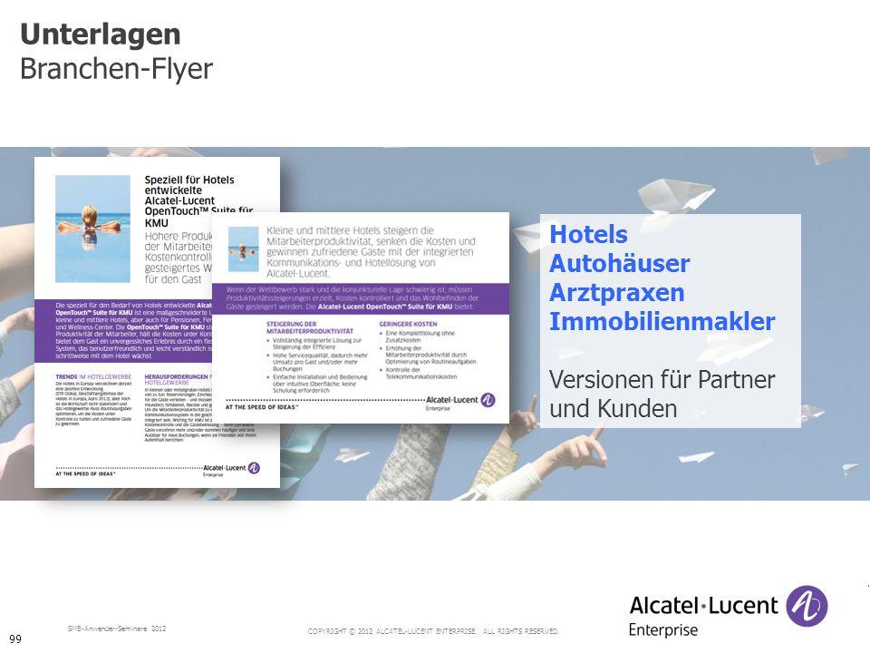 COPYRIGHT © 2012 ALCATEL-LUCENT ENTERPRISE. ALL RIGHTS RESERVED. SMB-Anwender-Seminare 2012 Unterlagen Branchen-Flyer Hotels Autohäuser Arztpraxen Imm