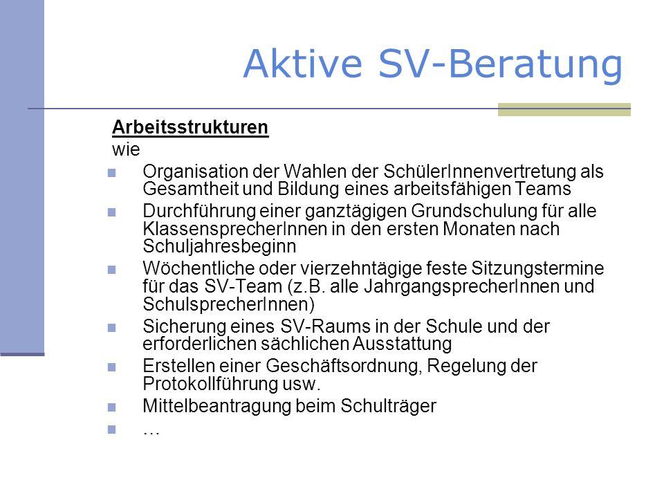 Aktive SV-Beratung Arbeitsstrukturen wie Organisation der Wahlen der SchülerInnenvertretung als Gesamtheit und Bildung eines arbeitsfähigen Teams Durc