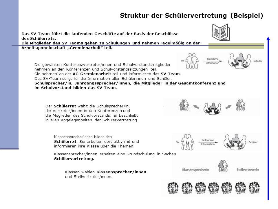Struktur der Schülervertretung (Beispiel) Das SV-Team führt die laufenden Geschäfte auf der Basis der Beschlüsse des Schülerrats. Die Mitglieder des S