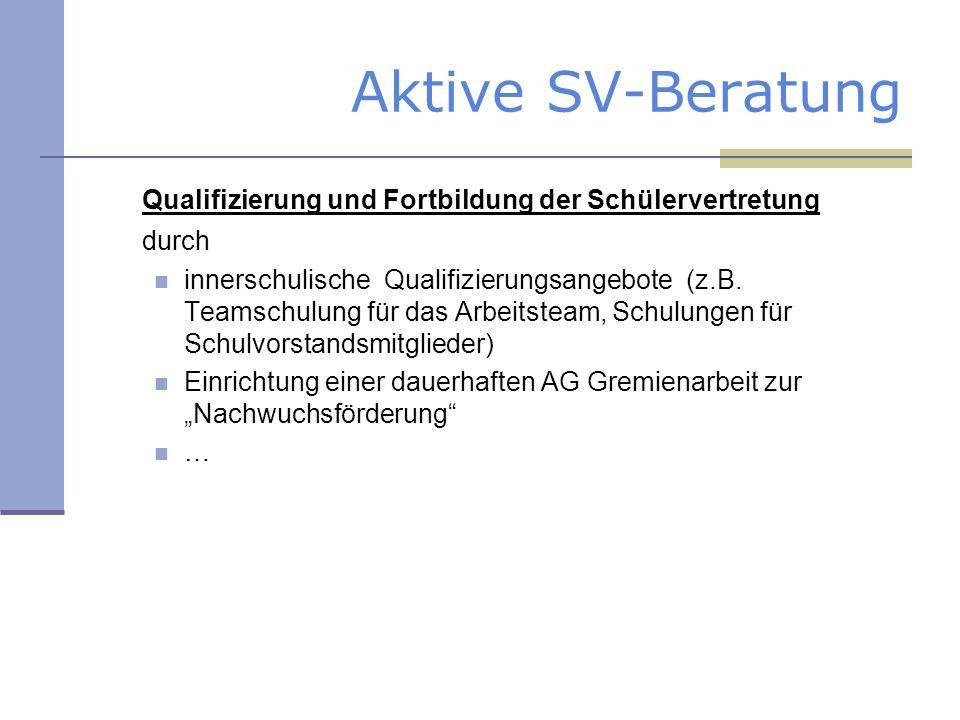 Aktive SV-Beratung Qualifizierung und Fortbildung der Schülervertretung durch innerschulische Qualifizierungsangebote (z.B. Teamschulung für das Arbei
