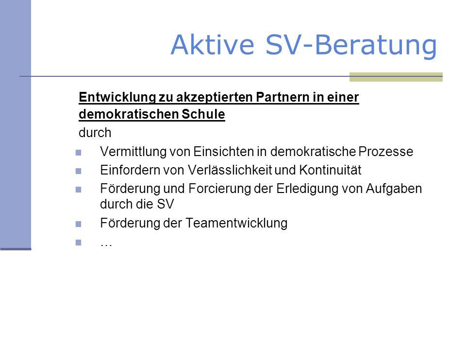 Aktive SV-Beratung Entwicklung zu akzeptierten Partnern in einer demokratischen Schule durch Vermittlung von Einsichten in demokratische Prozesse Einf