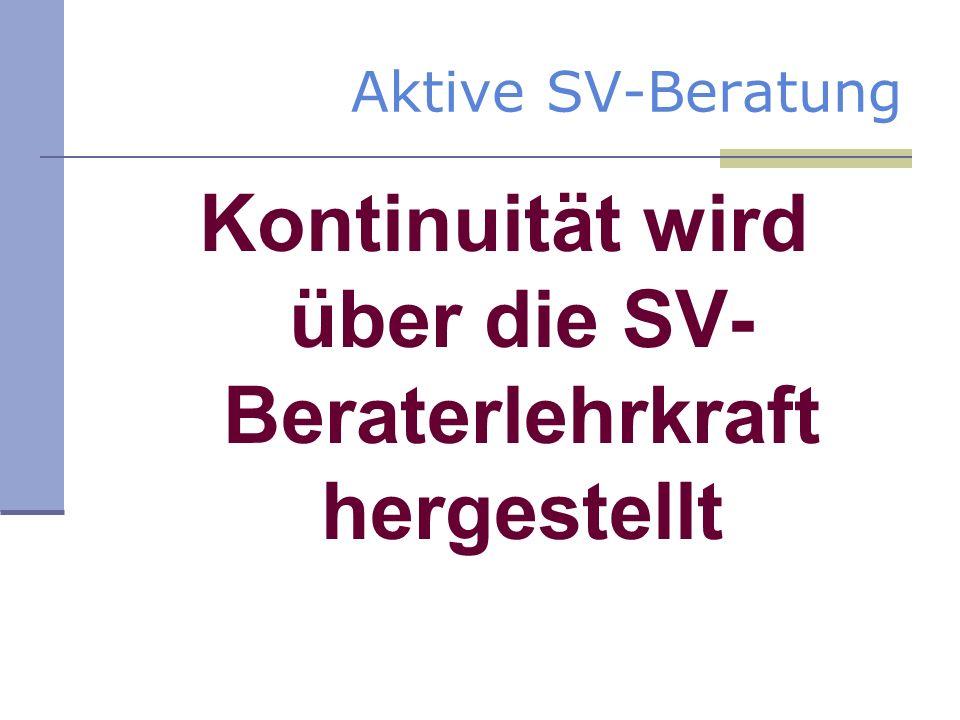 Aktive SV-Beratung Kontinuität wird über die SV- Beraterlehrkraft hergestellt