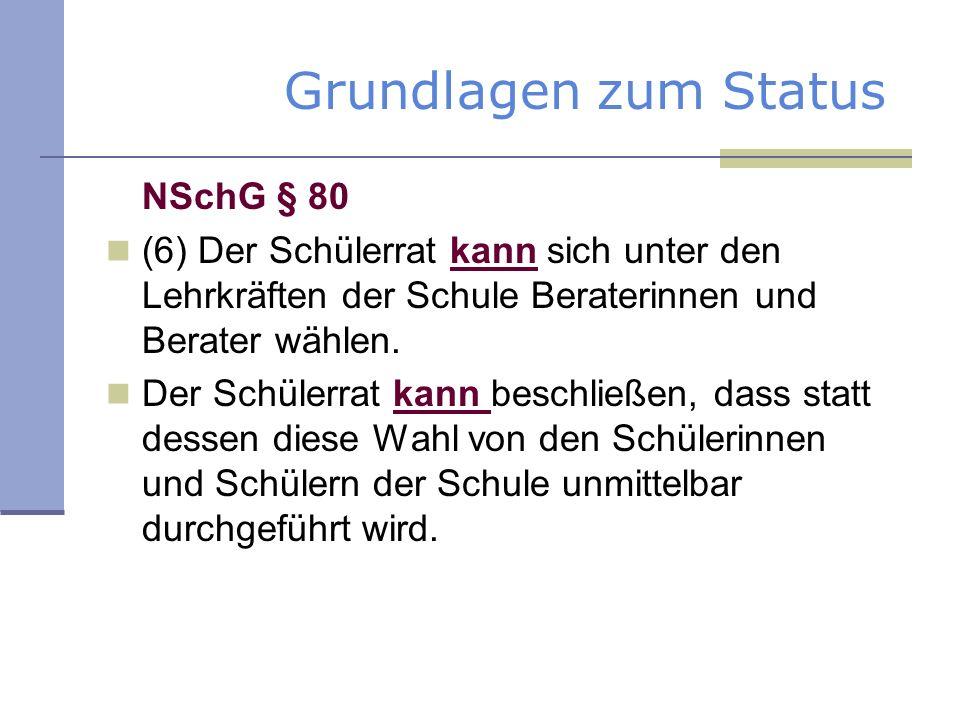Aktive SV-Beratung Qualifizierung und Fortbildung der Schülervertretung durch innerschulische Qualifizierungsangebote (z.B.
