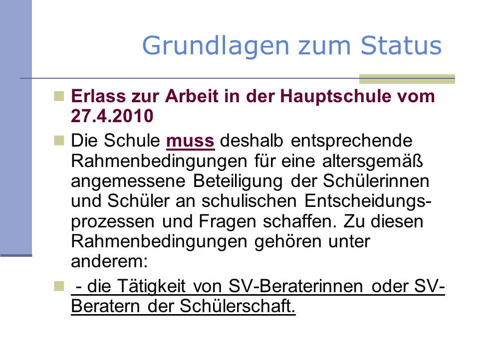 Grundlagen zum Status Erlass zur Arbeit in der Hauptschule vom 27.4.2010 Die Schule muss deshalb entsprechende Rahmenbedingungen für eine altersgemäß