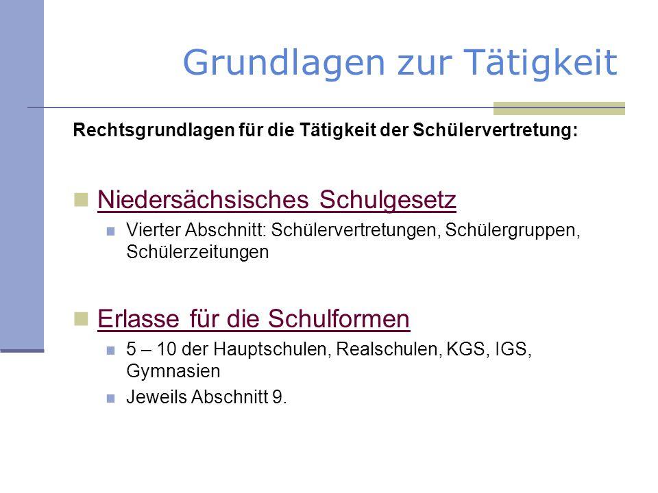 Grundlagen zur Tätigkeit Rechtsgrundlagen für die Tätigkeit der Schülervertretung: Niedersächsisches Schulgesetz Vierter Abschnitt: Schülervertretunge