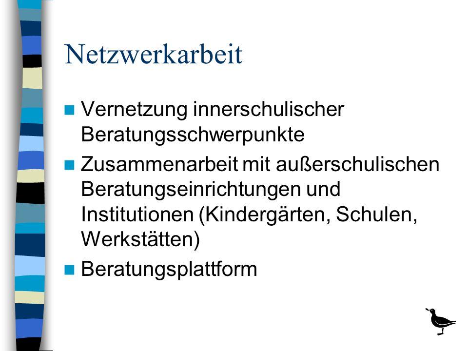Netzwerkarbeit Vernetzung innerschulischer Beratungsschwerpunkte Zusammenarbeit mit außerschulischen Beratungseinrichtungen und Institutionen (Kinderg