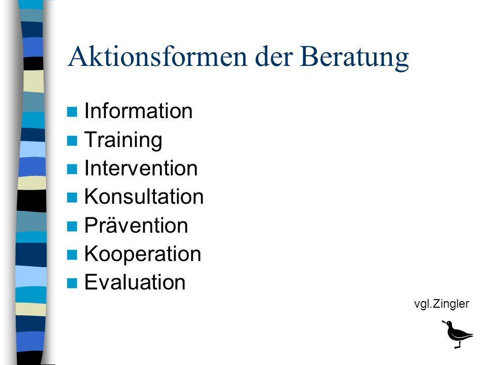 Aktionsformen der Beratung Information Training Intervention Konsultation Prävention Kooperation Evaluation vgl.Zingler