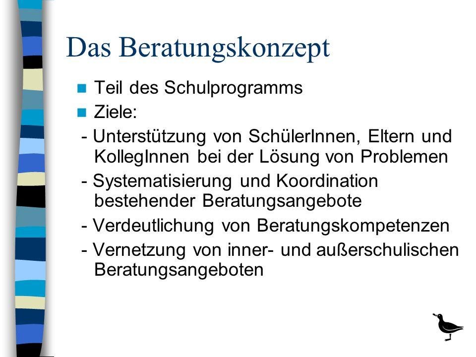Aufgaben der Beratungslehrer - Unterstützung von SchülerInnen, Eltern und KollegInnen bei der Lösung von Problemen - Systematisierung und Koordination bestehender Beratungsangebote - Verdeutlichung von Beratungskompetenzen - Vernetzung von inner- und außerschulischen Beratungsangeboten