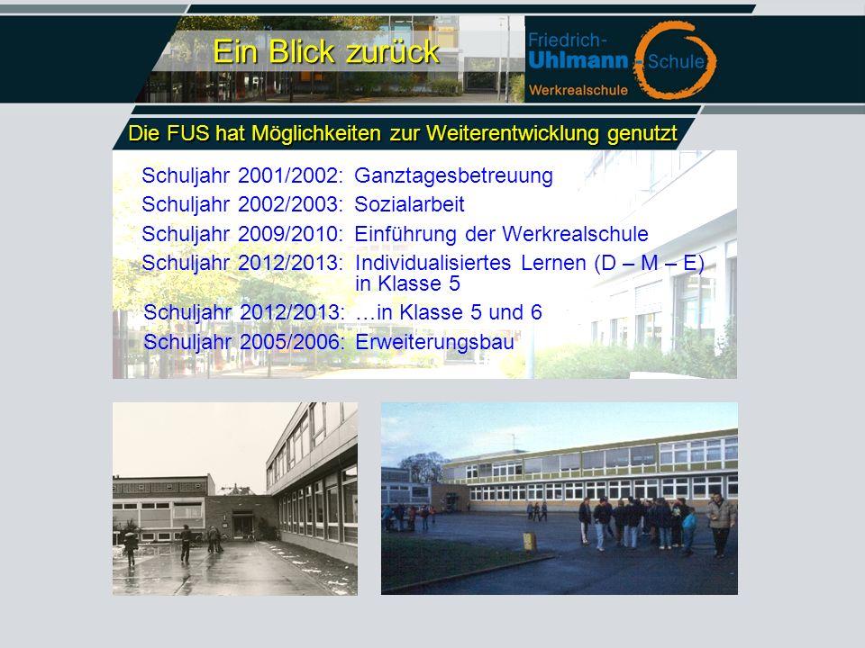 Ein Blick zurück Schuljahr 2001/2002:Ganztagesbetreuung Schuljahr 2002/2003:Sozialarbeit Schuljahr 2009/2010:Einführung der Werkrealschule Schuljahr 2