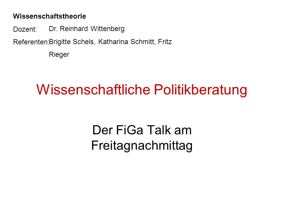 Kritik am dezisionistischen Modell –Rationalitätslücke d.h.