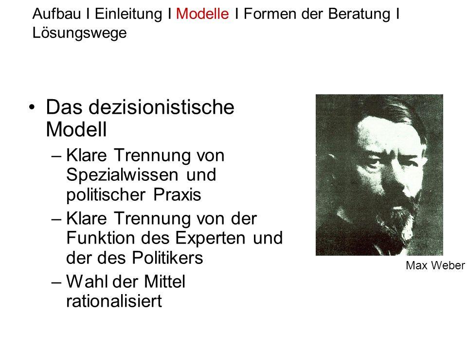 Das dezisionistische Modell –Klare Trennung von Spezialwissen und politischer Praxis –Klare Trennung von der Funktion des Experten und der des Politik