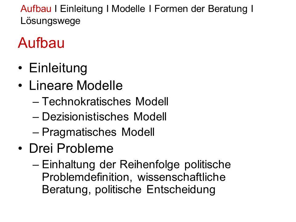 Das pragmatische Modell –Habermas setzt anstelle der strikten Trennung beider Funktionen ein kritisches Wechselverhältnis zwischen Sachverständigen und Politkern => kommt da dem Beratungsprozess sehr nahe Aufbau I Einleitung I Modelle I Formen der Beratung I Lösungswege