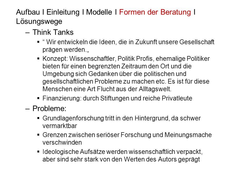 Aufbau I Einleitung I Modelle I Formen der Beratung I Lösungswege –Think Tanks Wir entwickeln die Ideen, die in Zukunft unsere Gesellschaft prägen wer