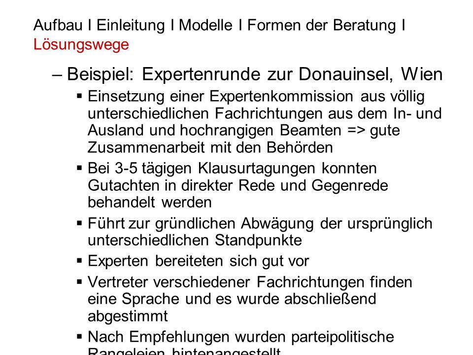 –Beispiel: Expertenrunde zur Donauinsel, Wien Einsetzung einer Expertenkommission aus völlig unterschiedlichen Fachrichtungen aus dem In- und Ausland