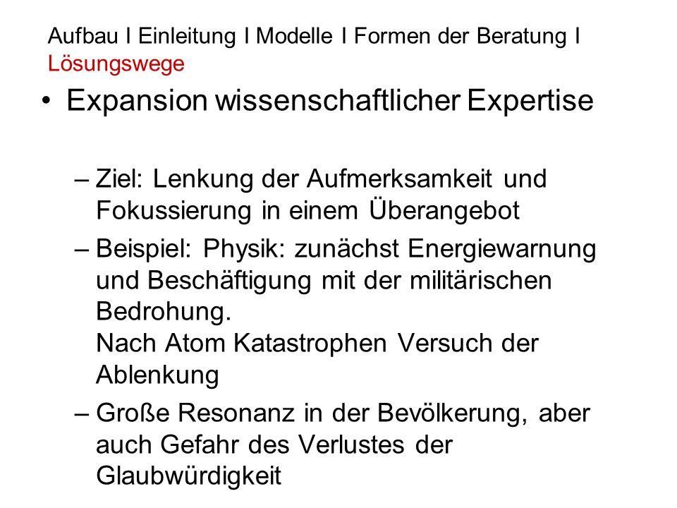 Expansion wissenschaftlicher Expertise –Ziel: Lenkung der Aufmerksamkeit und Fokussierung in einem Überangebot –Beispiel: Physik: zunächst Energiewarn