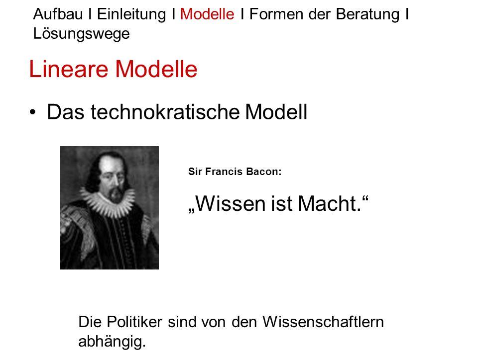 Lineare Modelle Das technokratische Modell Aufbau I Einleitung I Modelle I Formen der Beratung I Lösungswege Sir Francis Bacon: Wissen ist Macht. Die