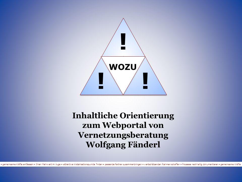 WOZU WAS Vernetzung Inhaltliche Orientierung zum Webportal von Vernetzungsberatung Wolfgang Fänderl gemeinsame Kräfte entfesseln Ihren Mehrwert im Auge attraktive Kristallisationspunkte finden passende Partner zusammenbringen wertschätzenden Rahmen schaffen Prozesse nachhaltig dokumentieren gemeinsame Kräfte