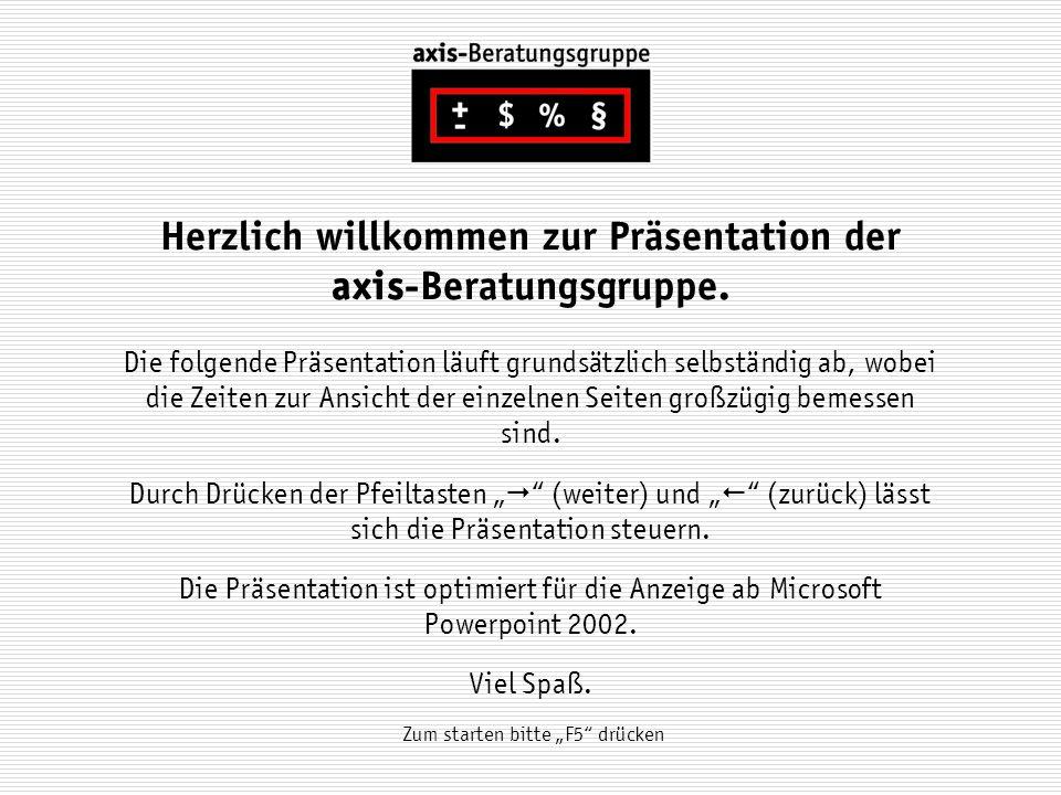 Herzlich willkommen zur Präsentation der axis-Beratungsgruppe.