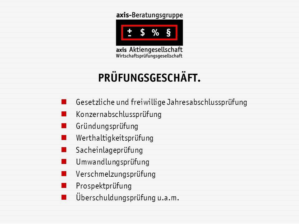 PRÜFUNGSGESCHÄFT. Gesetzliche und freiwillige Jahresabschlussprüfung Konzernabschlussprüfung Gründungsprüfung Werthaltigkeitsprüfung Sacheinlageprüfun
