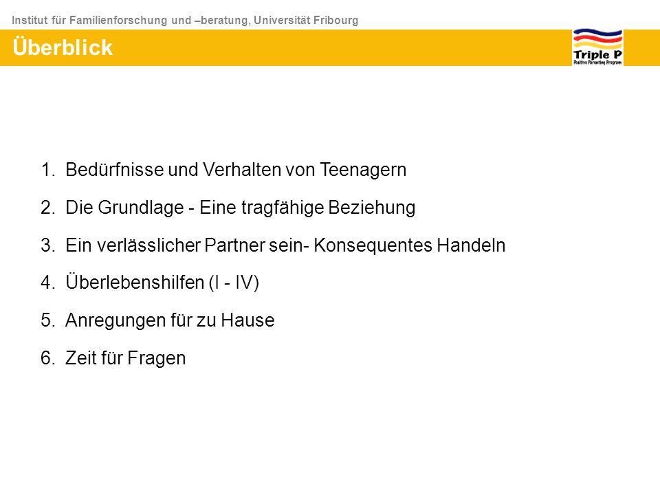 Institut für Familienforschung und –beratung, Universität Fribourg Überblick 1.Bedürfnisse und Verhalten von Teenagern 2.Die Grundlage - Eine tragfähi