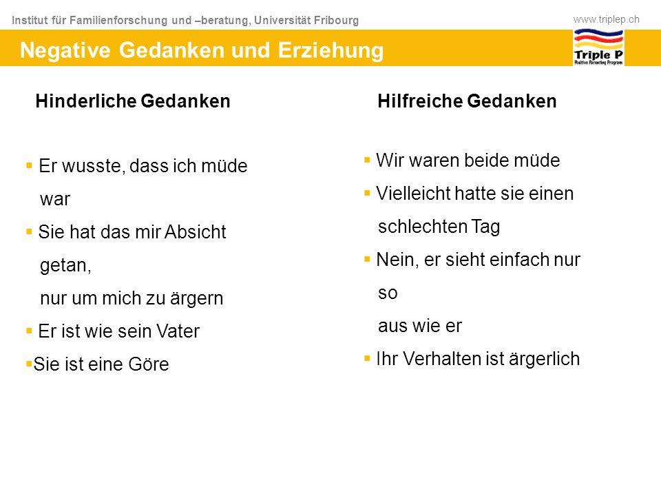 Institut für Familienforschung und –beratung, Universität Fribourg www.triplep.ch Negative Gedanken und Erziehung Hinderliche Gedanken Hilfreiche Geda