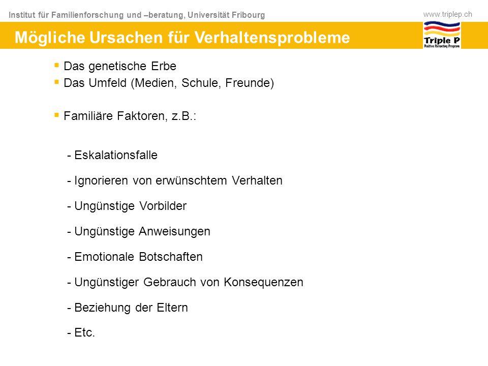 Institut für Familienforschung und –beratung, Universität Fribourg www.triplep.ch Das genetische Erbe Das Umfeld (Medien, Schule, Freunde) Familiäre F