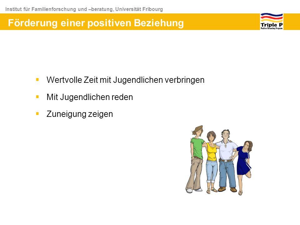 Institut für Familienforschung und –beratung, Universität Fribourg Wertvolle Zeit mit Jugendlichen verbringen Mit Jugendlichen reden Zuneigung zeigen