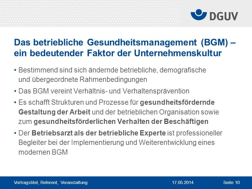 17.05.2014 Vortragstitel, Referent, Veranstaltung Seite 10 Das betriebliche Gesundheitsmanagement (BGM) – ein bedeutender Faktor der Unternehmenskultu