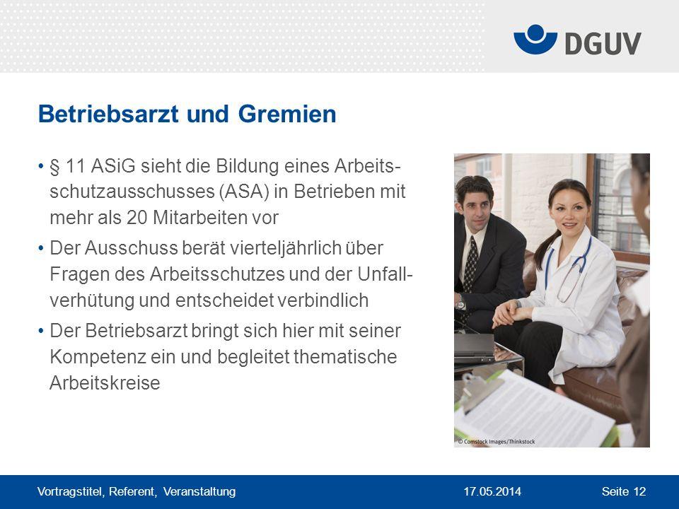 17.05.2014 Vortragstitel, Referent, Veranstaltung Seite 12 Betriebsarzt und Gremien § 11 ASiG sieht die Bildung eines Arbeits- schutzausschusses (ASA)