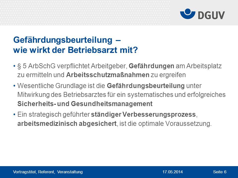 17.05.2014 Vortragstitel, Referent, Veranstaltung Seite 6 Gefährdungsbeurteilung – wie wirkt der Betriebsarzt mit? § 5 ArbSchG verpflichtet Arbeitgebe