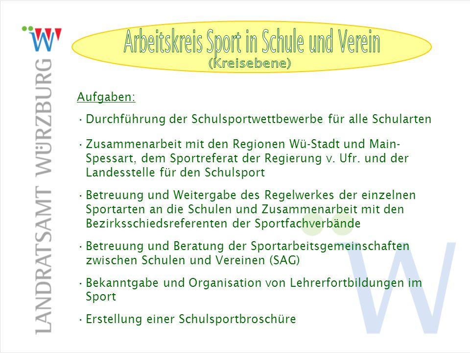 Arbeitskreis Sport in Schule und Verein (Kreisebene) Aufgaben: Durchführung der Schulsportwettbewerbe für alle Schularten Zusammenarbeit mit den Regio