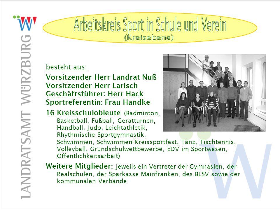 Arbeitskreis Sport in Schule und Verein (Kreisebene) besteht aus: Vorsitzender Herr Landrat Nuß Vorsitzender Herr Larisch Geschäftsführer: Herr Hack S