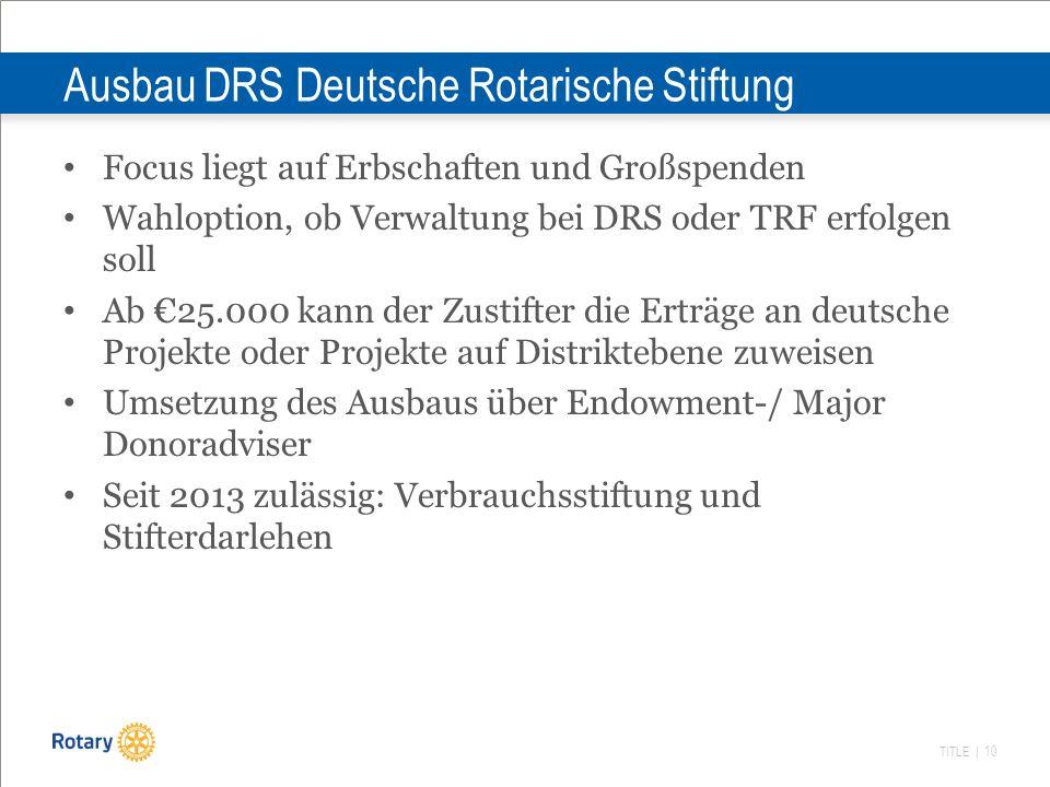 TITLE | 10 Ausbau DRS Deutsche Rotarische Stiftung Focus liegt auf Erbschaften und Großspenden Wahloption, ob Verwaltung bei DRS oder TRF erfolgen sol