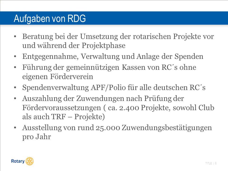 TITLE | 6 Aufgaben von RDG Beratung bei der Umsetzung der rotarischen Projekte vor und während der Projektphase Entgegennahme, Verwaltung und Anlage d
