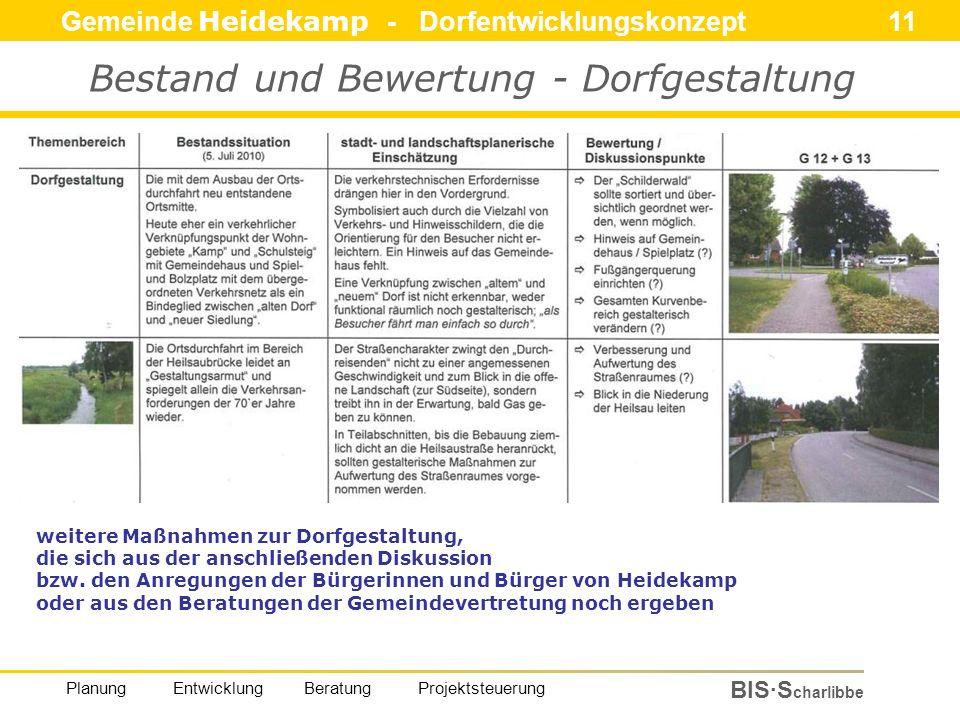 Gemeinde Heidekamp - Dorfentwicklungskonzept 11 BIS·S charlibbe Planung Entwicklung Beratung Projektsteuerung Bestand und Bewertung - Dorfgestaltung weitere Maßnahmen zur Dorfgestaltung, die sich aus der anschließenden Diskussion bzw.