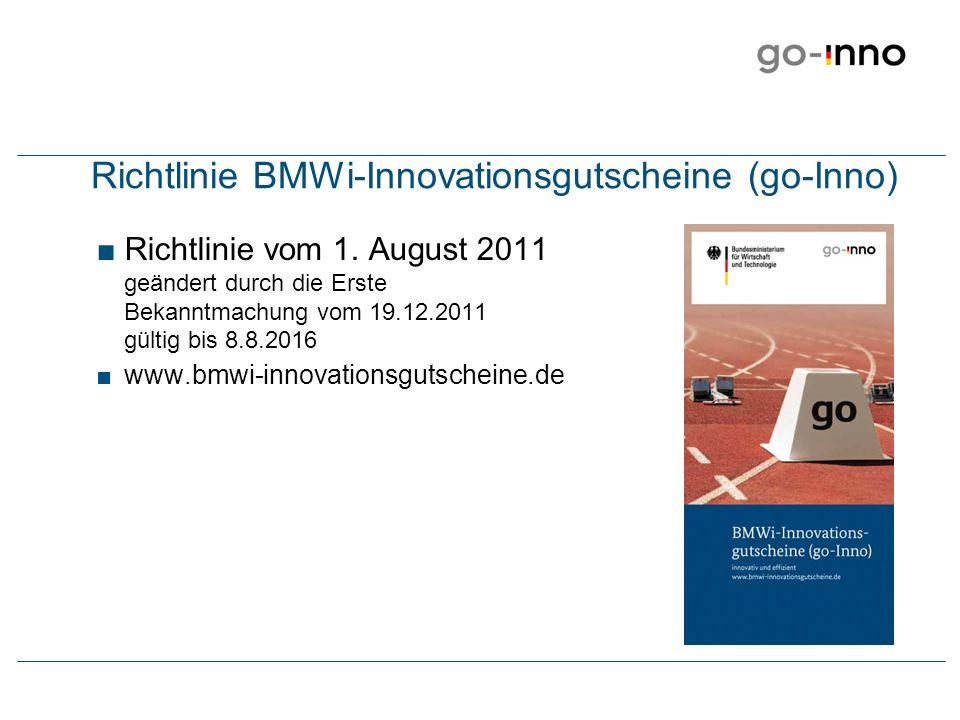 Richtlinie BMWi-Innovationsgutscheine (go-Inno) vom 1.