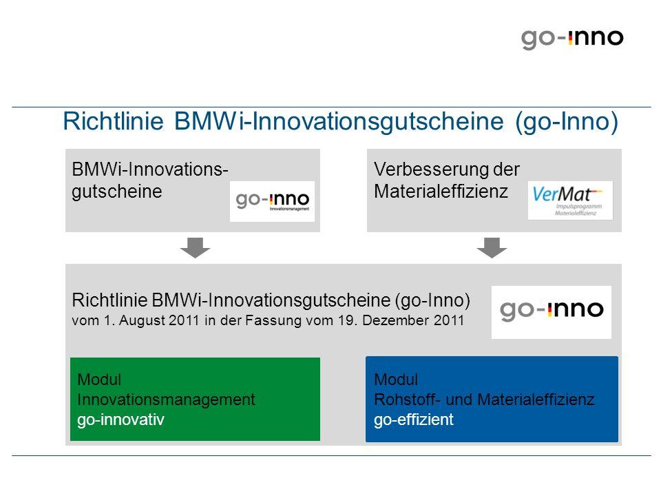 Zielsetzung des Förderprogramms go-Inno Rentable Verbesserung der Rohstoff- und Materialeffizienz go-effizient Projektträger: Deutsche Materialeffizienzagentur demea Erhöhung von Innovationskraft und Wettbewerbsfähigkeit go-innovativ Projektträger: EuroNorm GmbH