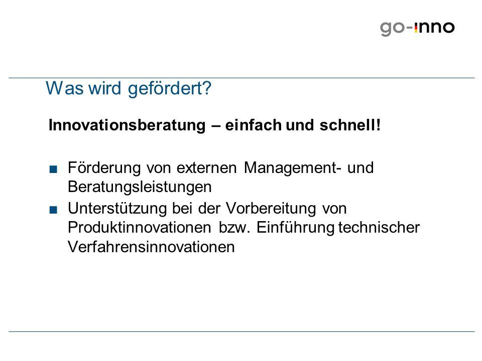 Beratungsmodell Innovationsberatung erfolgt nur durch vom BMWi autorisierte Beratungsunternehmen.