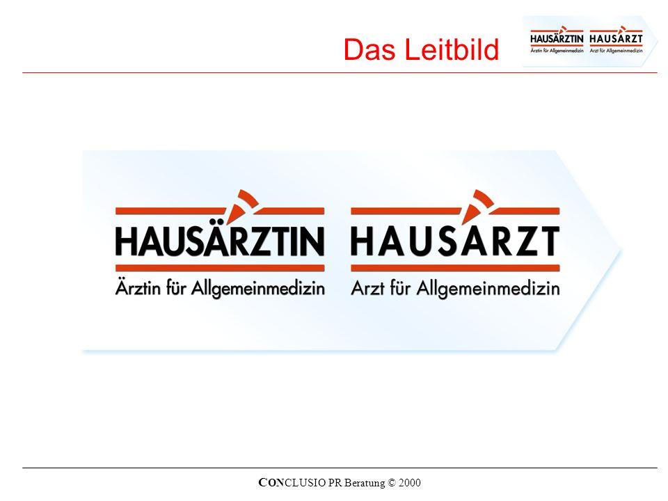 C ONCLUSIO PR Beratung © 2000 Die Ziele des Leitbildes Das Leitbild ist das identitätsstiftende verfasste Selbstverständnis der österreichischen Hausärztinnen und Hausärzte.