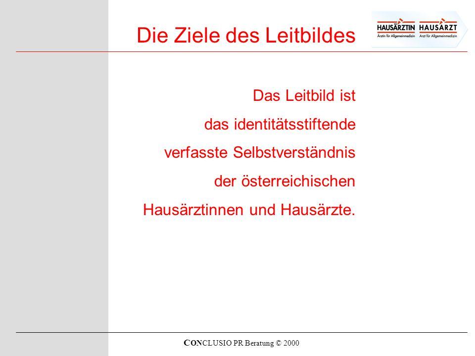 C ONCLUSIO PR Beratung © 2000 Die Ziele des Leitbildes Das Leitbild ist das identitätsstiftende verfasste Selbstverständnis der österreichischen Hausä