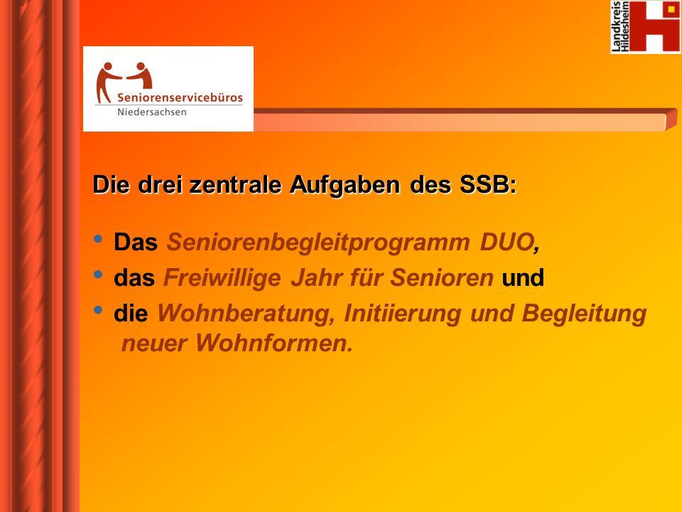 Die drei zentrale Aufgaben des SSB: Das Seniorenbegleitprogramm DUO, das Freiwillige Jahr für Senioren und die Wohnberatung, Initiierung und Begleitun