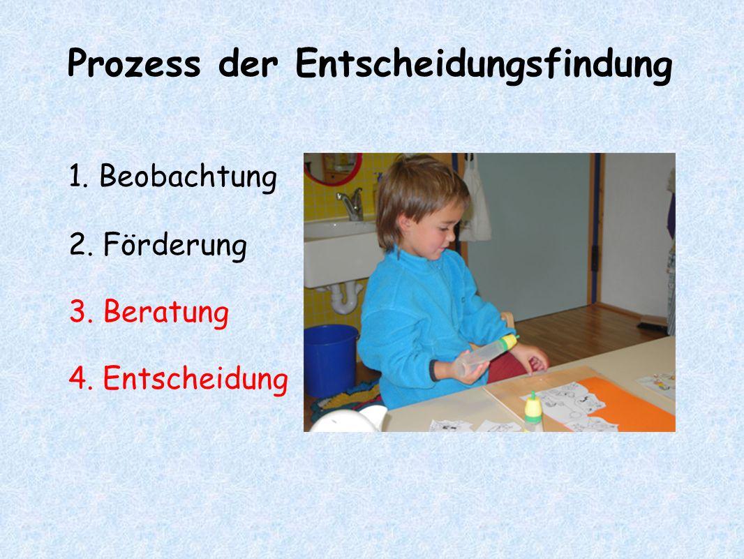 Prozess der Entscheidungsfindung 1. Beobachtung 2. Förderung 3. Beratung 4. Entscheidung